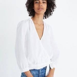 Madewell wrap top eyelet white small
